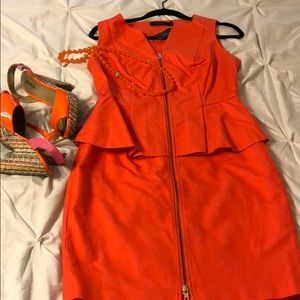 NWT The Limited Orange Peplum Front Zip Dress